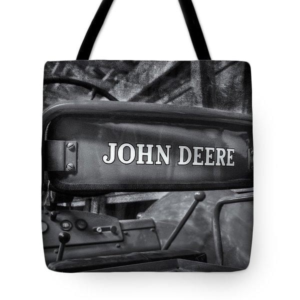 John Deere Tractor Bw Tote Bag by Susan Candelario