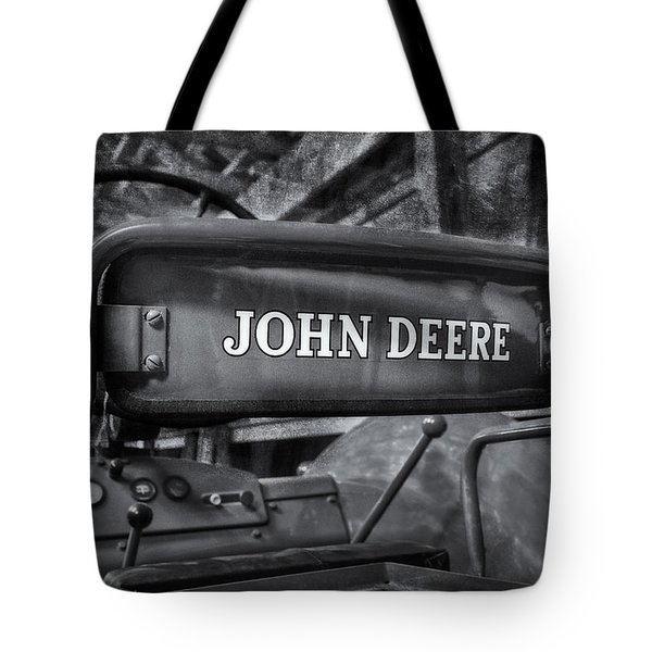 John Deere Tractor BW Tote Bag by Susan Candelario