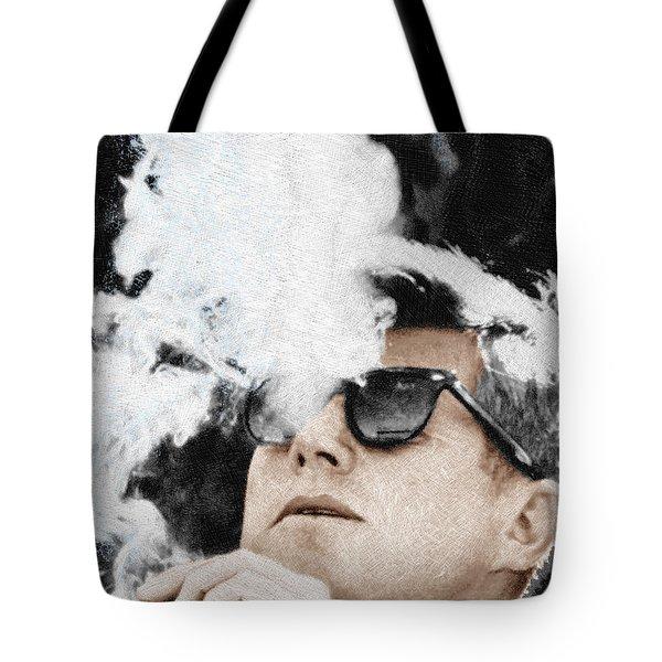 John F Kennedy Cigar And Sunglasses Tote Bag by Tony Rubino