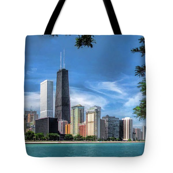 John Hancock Chicago Skyline Panorama Tote Bag by Christopher Arndt