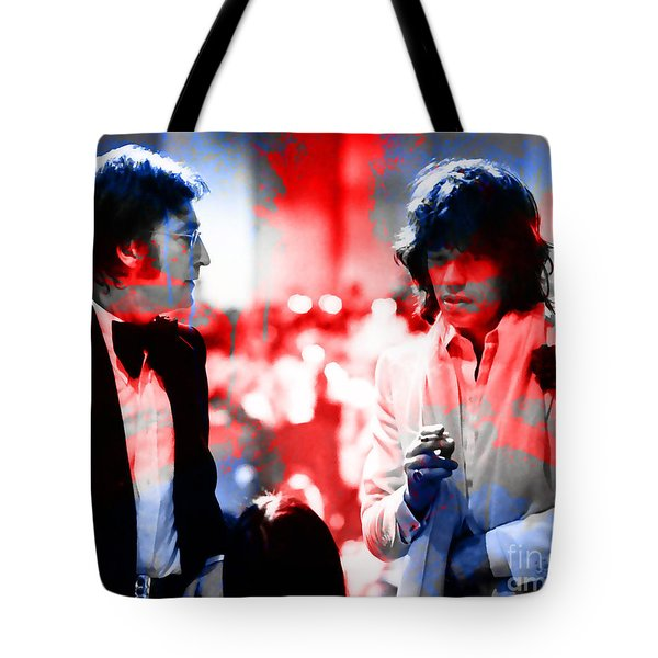 John Lennon And Mick Jagger Painting Tote Bag by Marvin Blaine