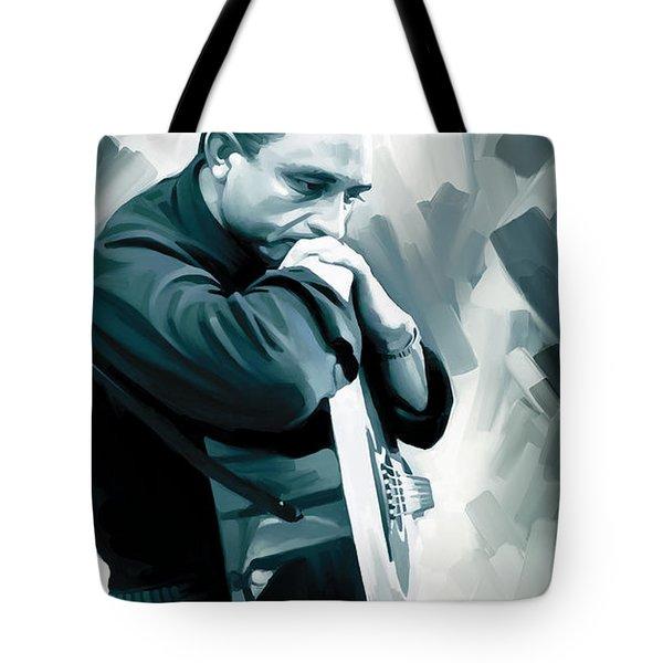 Johnny Cash Artwork 3 Tote Bag by Sheraz A