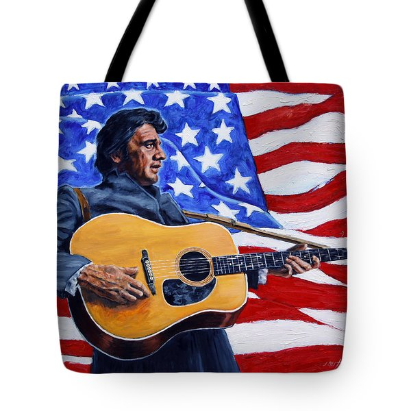 Johnny Cash Tote Bag by John Lautermilch