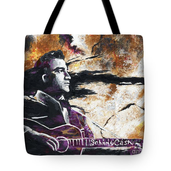 Johnny Cash Original Painting Print Tote Bag by Ryan RockChromatic