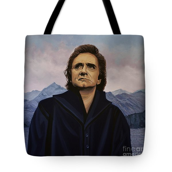 Johnny Cash Painting Tote Bag by Paul Meijering