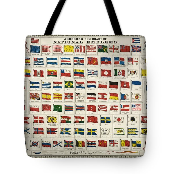 Johnsons New Chart of National Emblems Tote Bag by Nomad Art And  Design