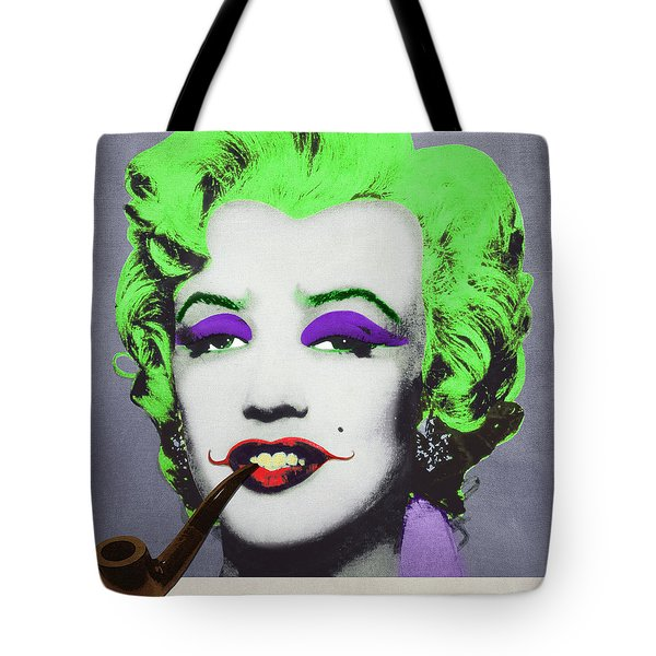 Joker Marilyn With Surreal Pipe Tote Bag by Filippo B
