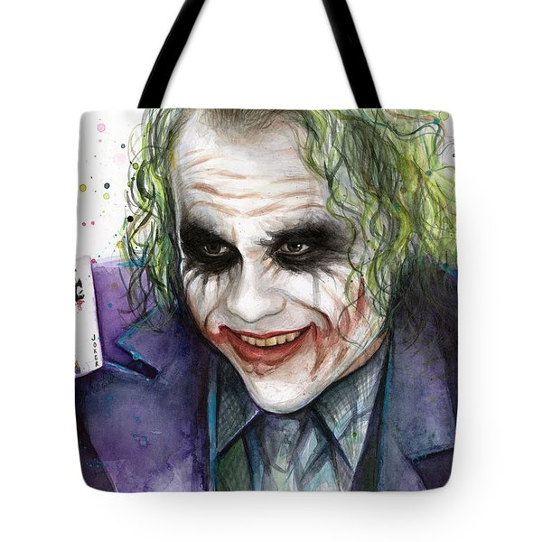 Joker Watercolor Portrait Tote Bag by Olga Shvartsur