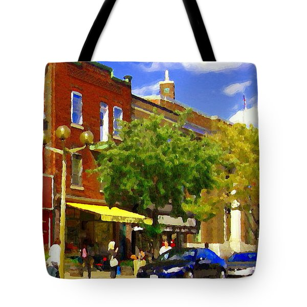 Jos Pappos Furs Street Scene Suburban Shops And Store Fronts Sherbrooke Montreal Carole Spandau Art  Tote Bag by Carole Spandau