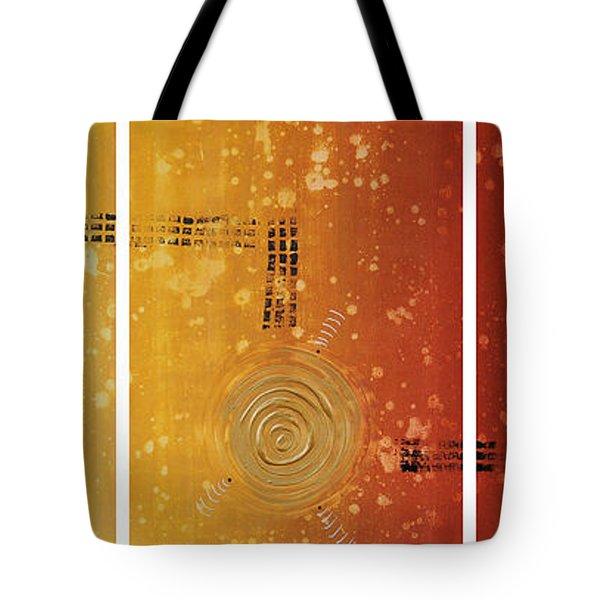 Journey To Zen - Earth Tone Yellow Burnt Orange Art Painting Tote Bag by Sharon Cummings