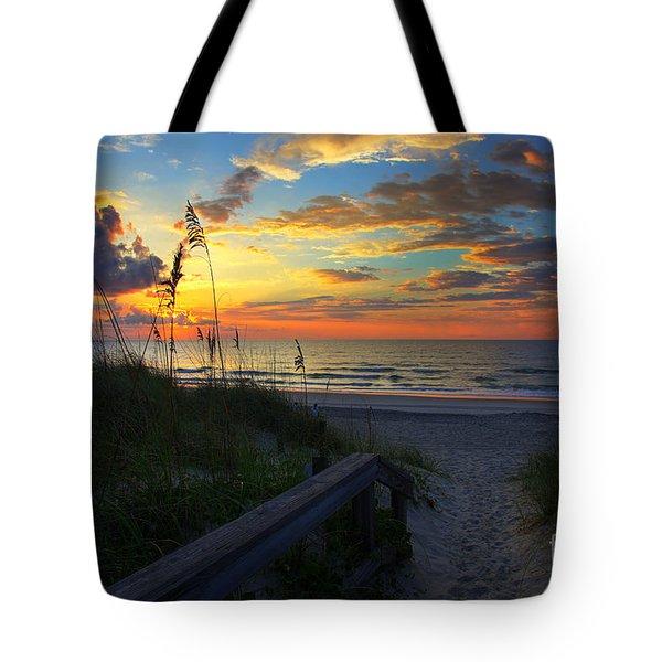 Joy Comes In The Morning Sunrise Carolina Beach Nc Tote Bag by Wayne Moran