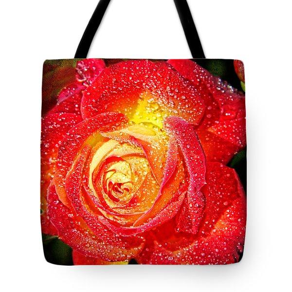 Joyful Rose Tote Bag by Mariola Bitner