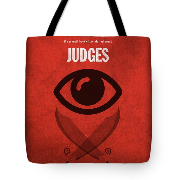 Judges Books of the Bible Series Old Testament Minimal Poster Art Number 7 Tote Bag by Design Turnpike