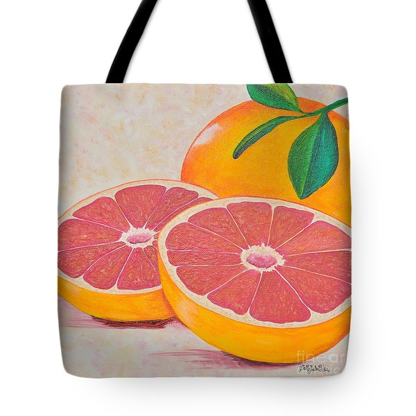 Juicy Pink Grapefruit Tote Bag by Sally Rice
