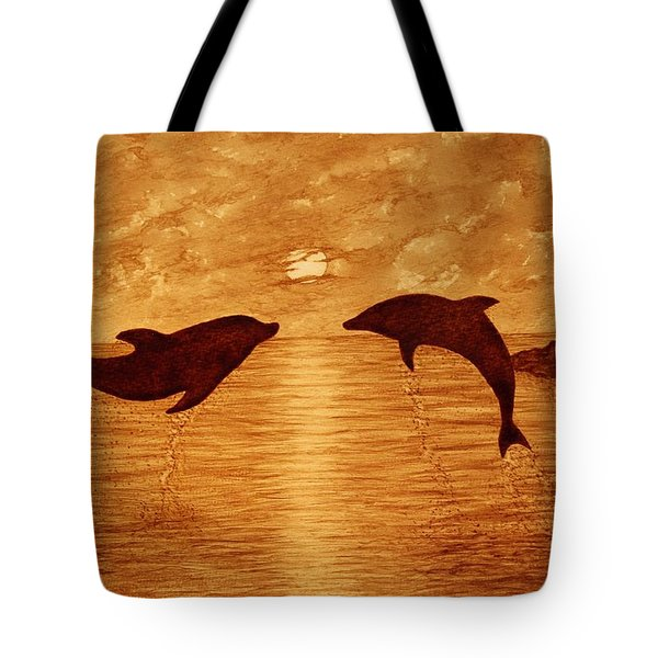 Jumping Dolphins At Sunset Tote Bag by Georgeta  Blanaru