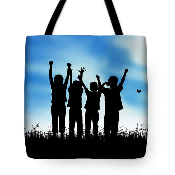 Jumping Kids Tote Bag by Aged Pixel