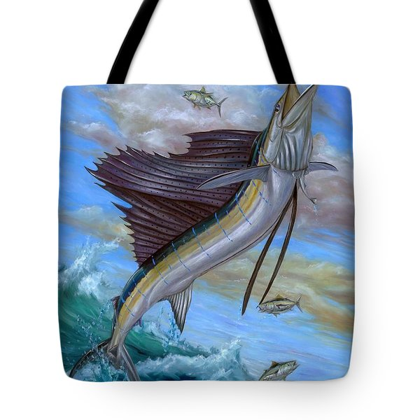 Jumping Sailfish Tote Bag by Terry Fox