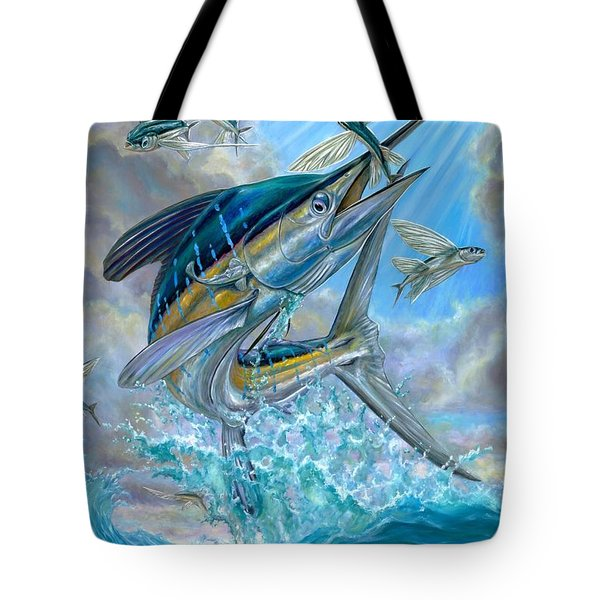 Jumping White Marlin And Flying Fish Tote Bag by Terry Fox