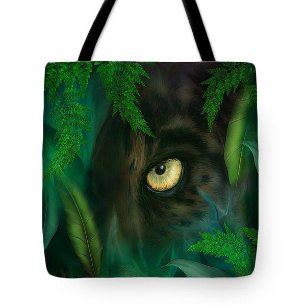 Jungle Eyes - Panther Tote Bag by Carol Cavalaris