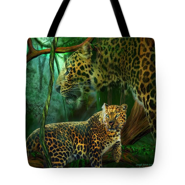 Jungle Spirit - Leopard Tote Bag by Carol Cavalaris