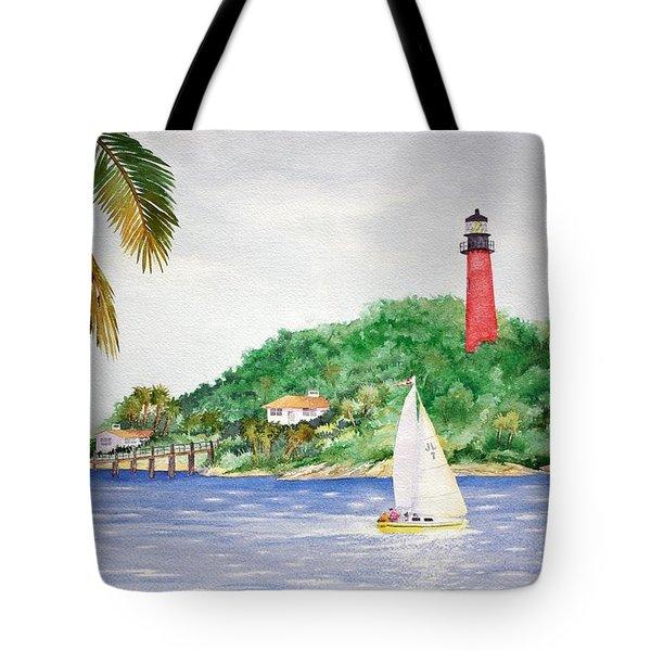 Jupiter Inlet Lighthouse Tote Bag by Jeff Lucas