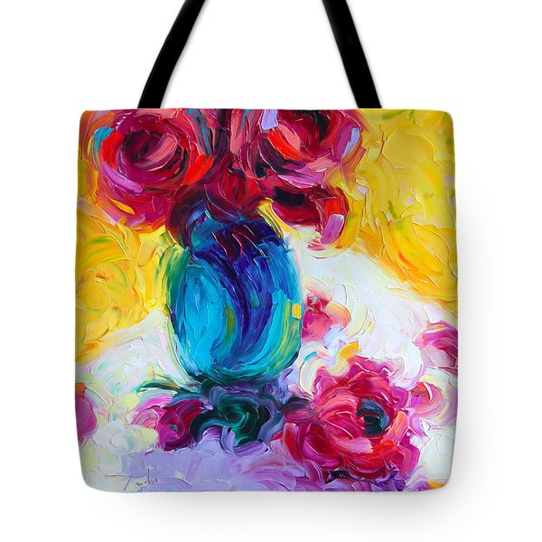 Just Past Bloom - roses still life Tote Bag by Talya Johnson