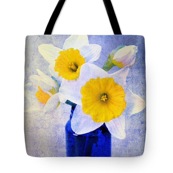 Just Plain Daffy 2 In Blue - Flora - Spring - Daffodil - Narcissus - Jonquil  Tote Bag by Andee Design