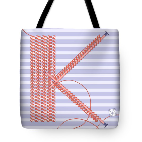 K Is For Knitters And Knitting Tote Bag by Valerie Drake Lesiak