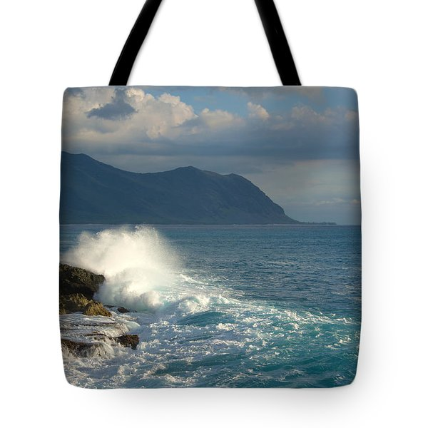 Kaena Point State Park Crashing Wave - Oahu Hawaii Tote Bag by Brian Harig