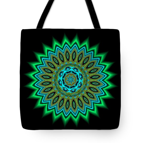Kaleidoscope 1 Blues And Greens Tote Bag by Faye Giblin