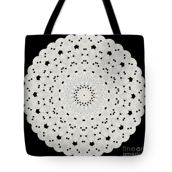 Kaleidoscope Of White Buttons Tote Bag by Becky Hayes