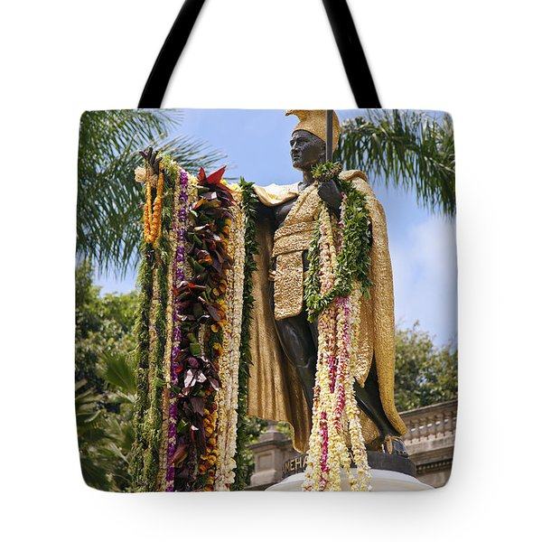 Kamehameha Covered in Leis Tote Bag by Brandon Tabiolo