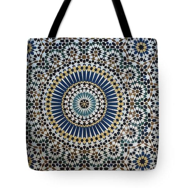 Kasbah Of Thamiel Glaoui Zellij Tilework Detail Tote Bag by Moroccan School