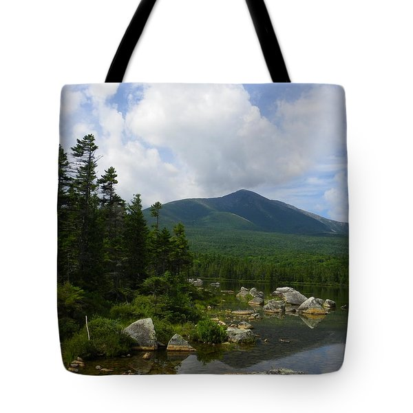 Katahdin From Sandy Stream Pond Tote Bag by Georgia Hamlin
