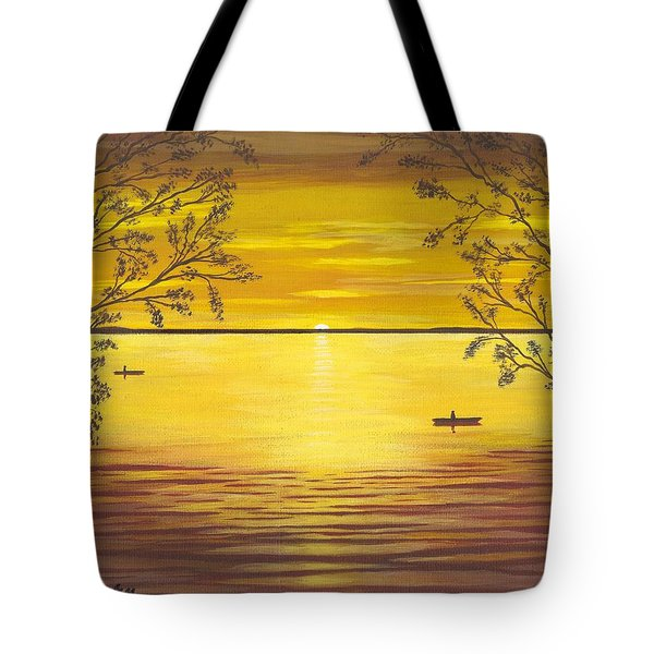 Kayaks In Golden Sunset Tote Bag by Cyndi Kingsley