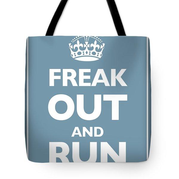 Keep Calm And Carry On Parody Blue Tote Bag by Tony Rubino