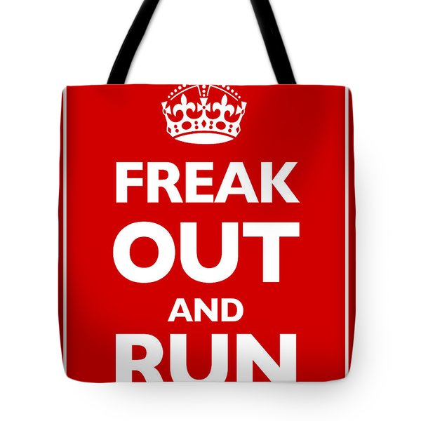 Keep Calm And Carry On Parody Red Tote Bag by Tony Rubino