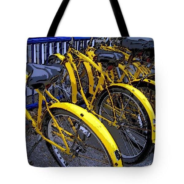 Kelley Island Bikes Tote Bag by Joan  Minchak