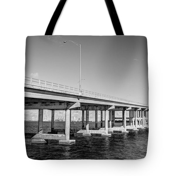 Key Biscayne Bridge Bw Tote Bag by Eyzen M Kim