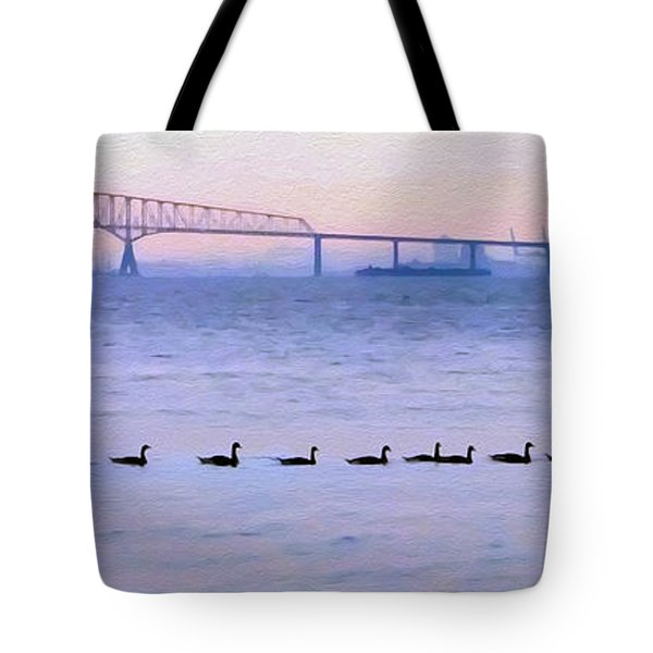 Key Bridge And Waterfowl Tote Bag by Brian Wallace