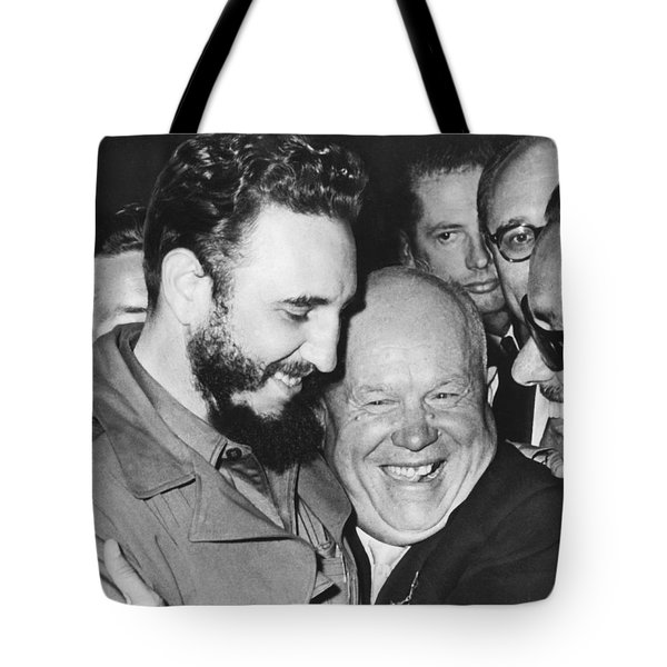 Khrushchev And Castro Tote Bag by Underwood Archives