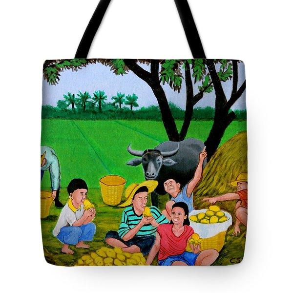 Kids Eating Mangoes Tote Bag by Cyril Maza