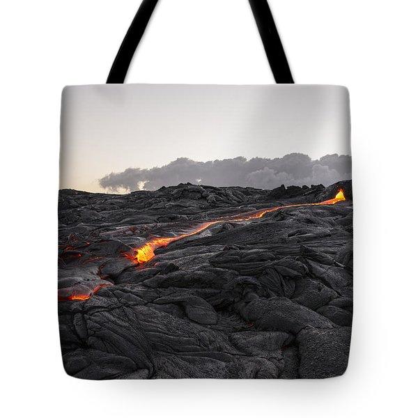 Kilauea Volcano 60 Foot Lava Flow - The Big Island Hawaii Tote Bag by Brian Harig