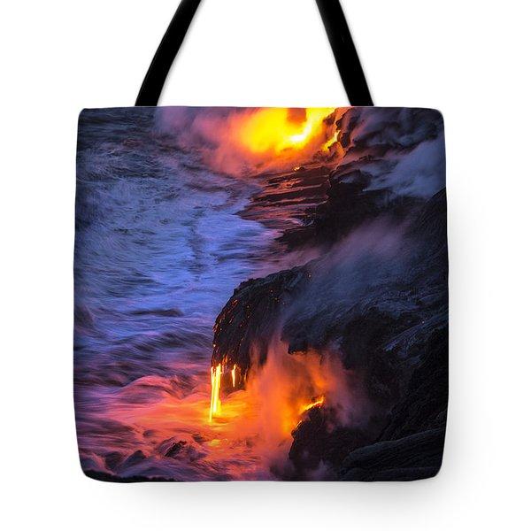 Kilauea Volcano Lava Flow Sea Entry 5 - The Big Island Hawaii Tote Bag by Brian Harig