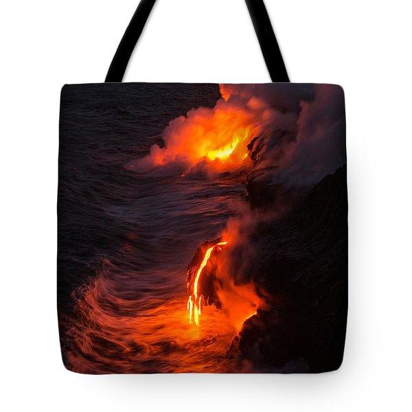 Kilauea Volcano Lava Flow Sea Entry - The Big Island Hawaii Tote Bag by Brian Harig