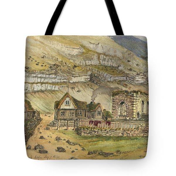 Kirk G Boe Inn And Ruins Faroe Island Circa 1862 Tote Bag by Aged Pixel