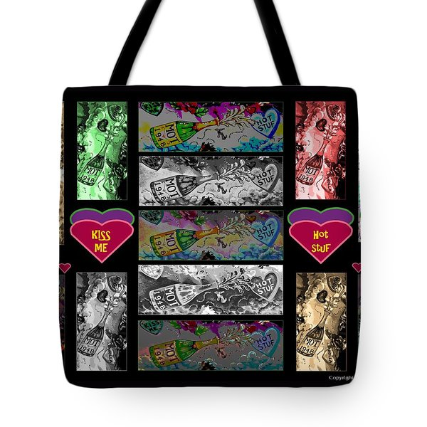 Kiss Me Hot Stuf Poster Tote Bag by Marian Bell