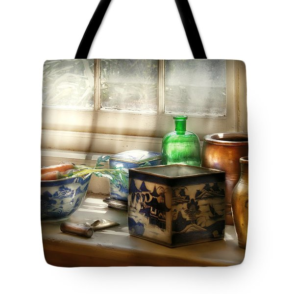 Kitchen - In A Kitchen Window Tote Bag by Mike Savad