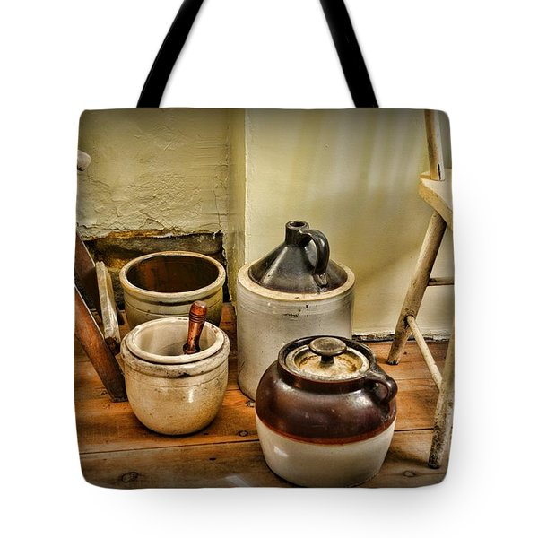 Kitchen Old Stoneware Tote Bag by Paul Ward