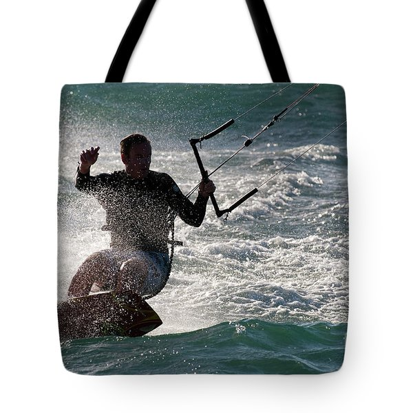 Kite Surfer 01 Tote Bag by Rick Piper Photography
